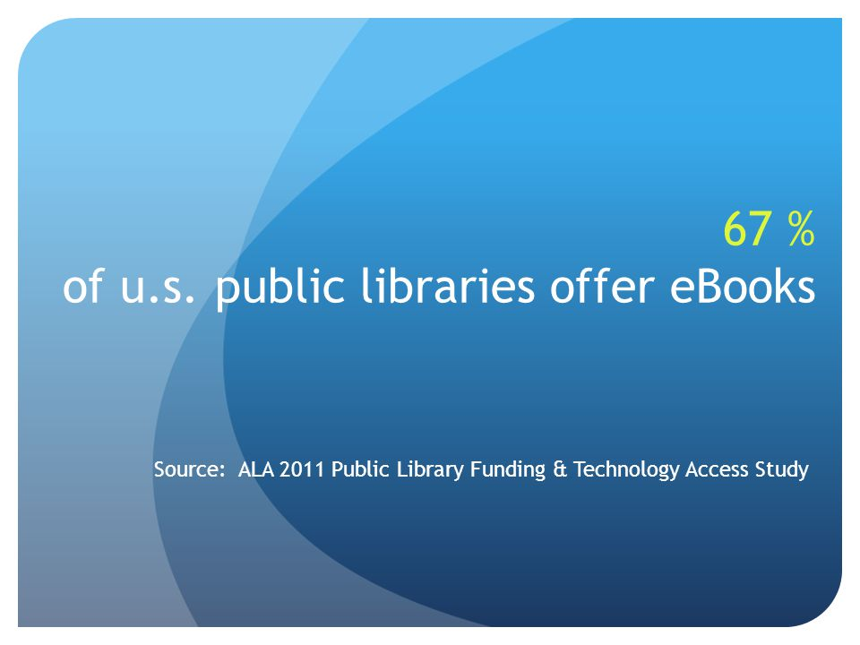67 % of u.s. public libraries offer eBooks Source: ALA 2011 Public Library Funding & Technology Access Study