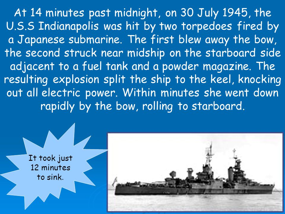 The world s first atomic bomb was delivered by the U.S.S Indianapolis, to the island of Tinian on 26 July 1945.