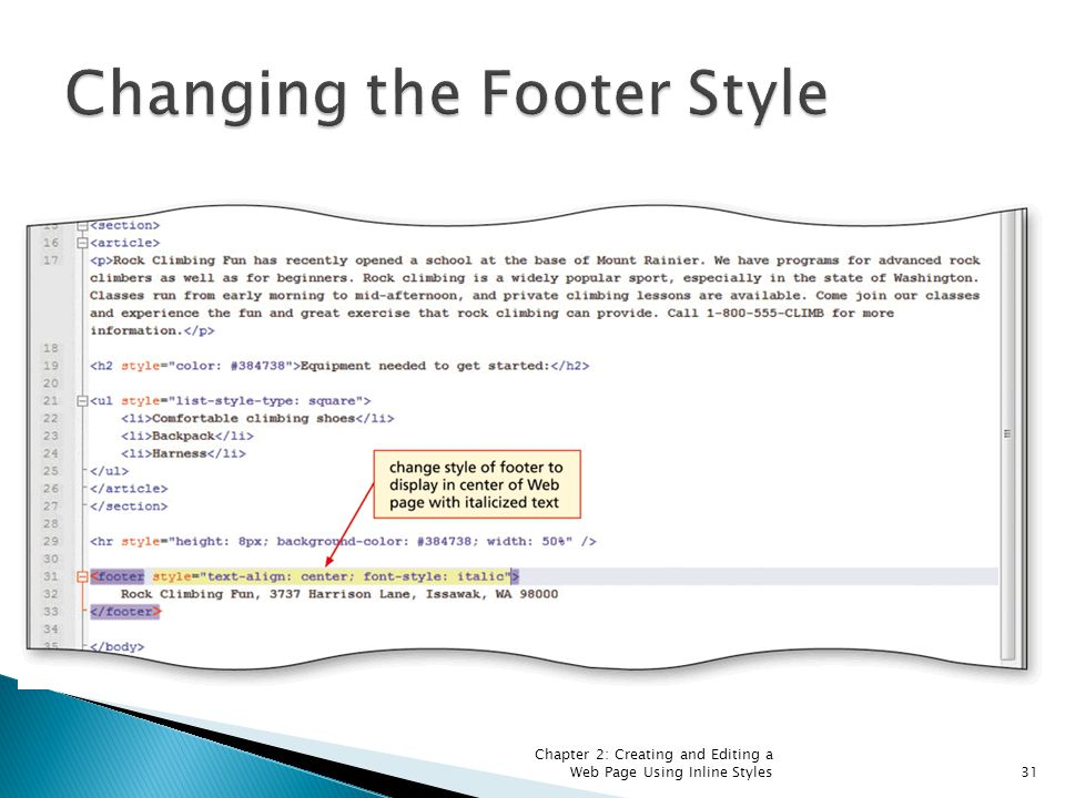 Chapter 2: Creating and Editing a Web Page Using Inline Styles31