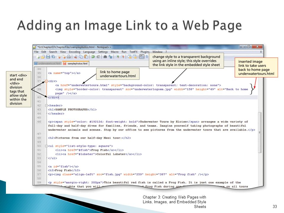 Chapter 3: Creating Web Pages with Links, Images, and Embedded Style Sheets33