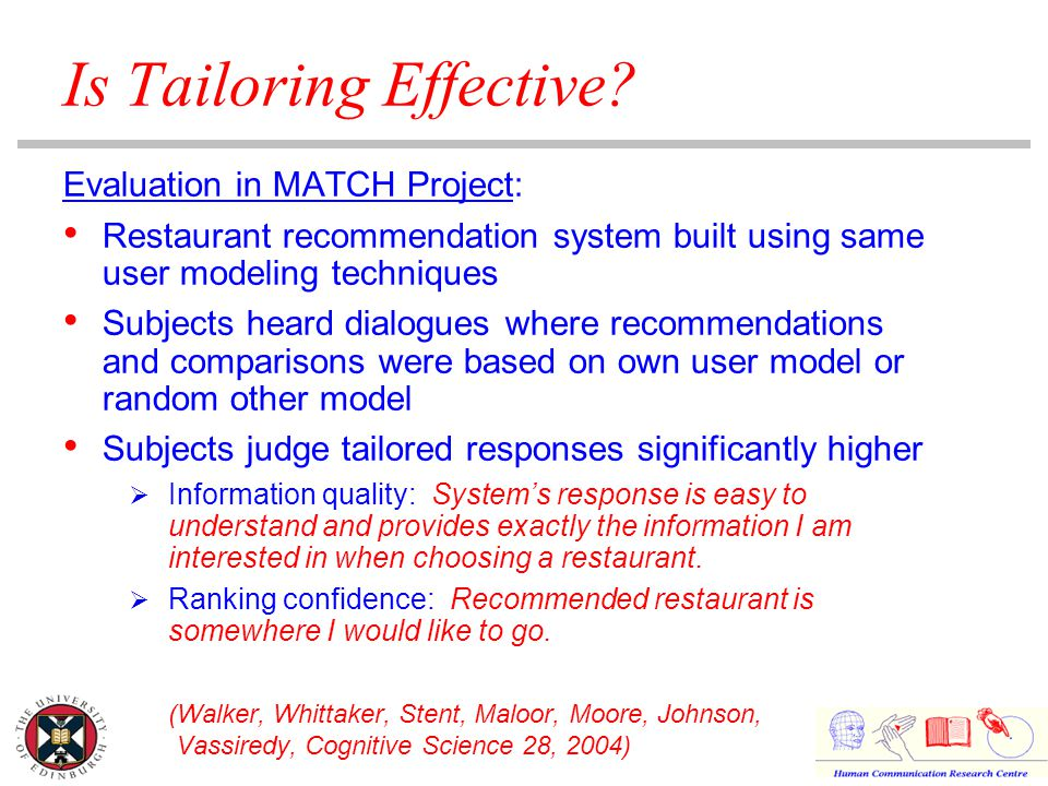 Is Tailoring Effective? Evaluation in MATCH Project: Restaurant recommendation system built using same user modeling techniques Subjects heard dialogu