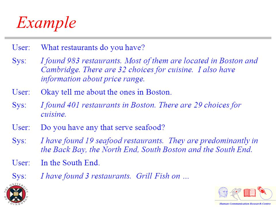 Example User:What restaurants do you have. Sys:I found 983 restaurants.