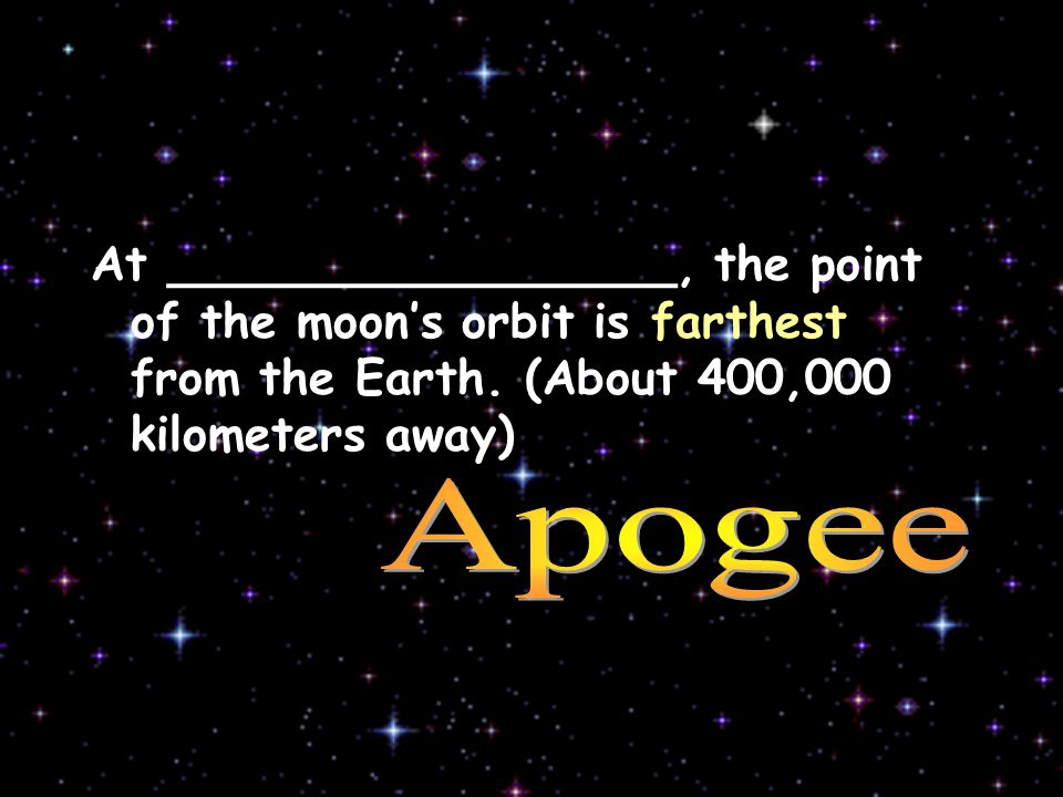 v At _________________, the point of the moon's orbit is farthest from the Earth.