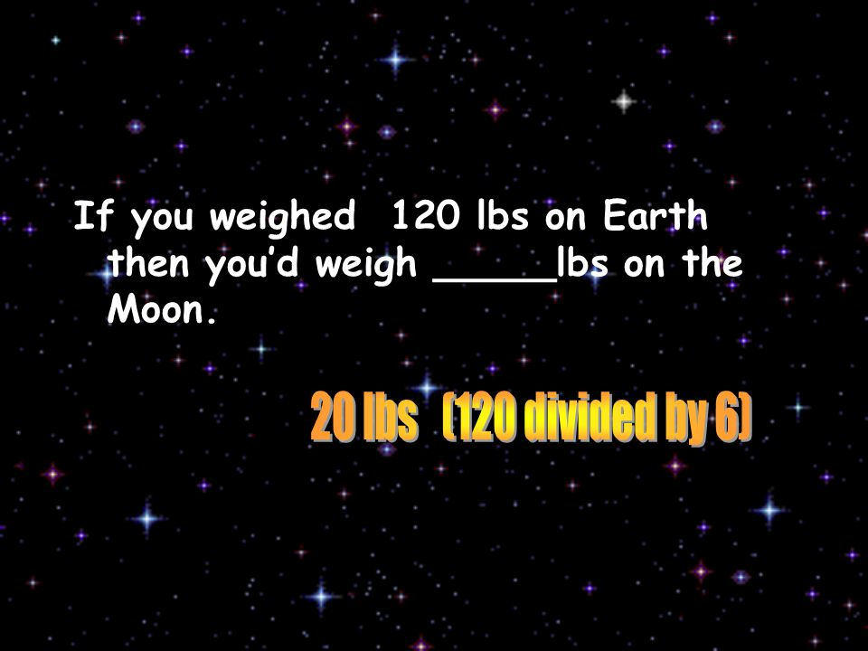 If you weighed 120 lbs on Earth then you'd weigh _____lbs on the Moon.
