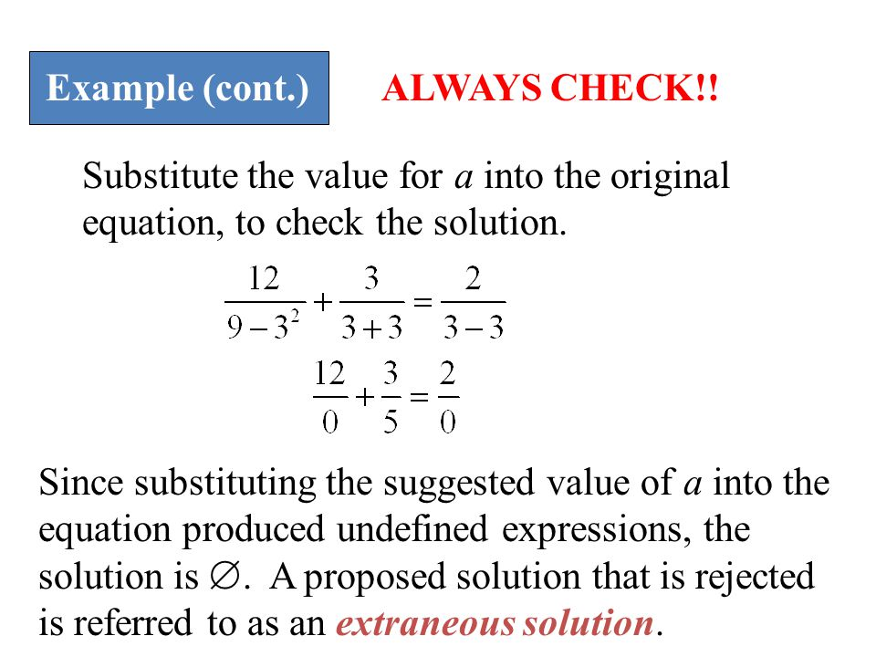 Example (cont.) Substitute the value for a into the original equation, to check the solution.