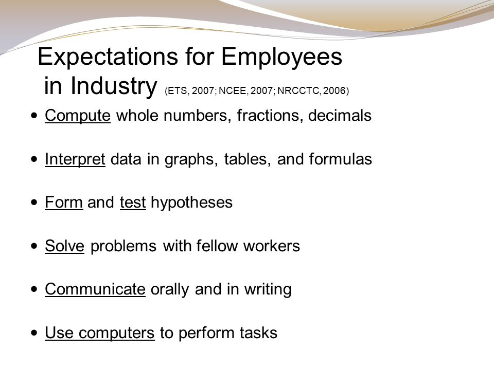 Expectations for Employees in Industry (ETS, 2007; NCEE, 2007; NRCCTC, 2006) Compute whole numbers, fractions, decimals Interpret data in graphs, tables, and formulas Form and test hypotheses Solve problems with fellow workers Communicate orally and in writing Use computers to perform tasks