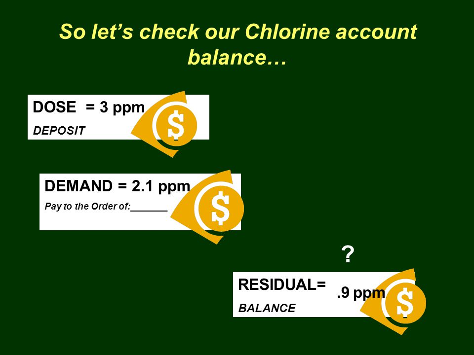So let's check our Chlorine account balance… DOSE = 3 ppm DEPOSIT DEMAND = 2.1 ppm Pay to the Order of:_______ RESIDUAL= BALANCE .9 ppm