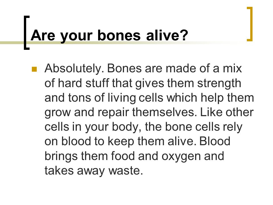 Are your bones alive. Absolutely.