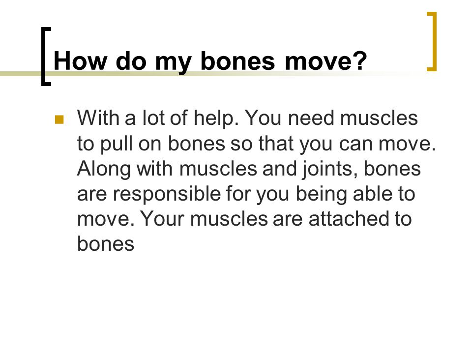 How do my bones move? With a lot of help. You need muscles to pull on bones so that you can move. Along with muscles and joints, bones are responsible