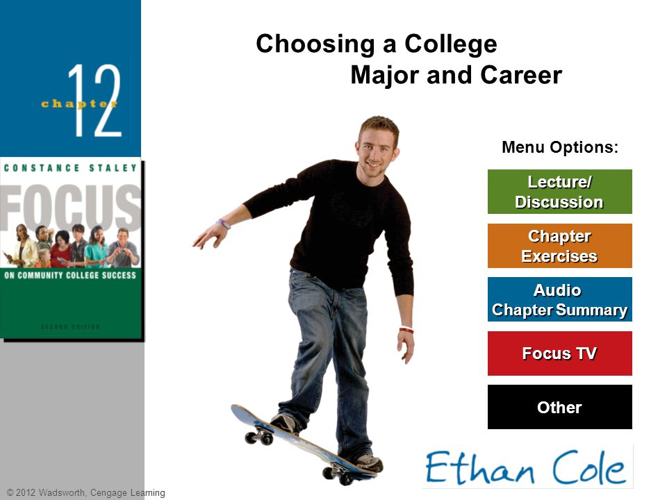 © 2012 Wadsworth, Cengage Learning Menu Options: Lecture/ Discussion Chapter Exercises Audio Chapter Summary Chapter Summary Other Focus TV Focus TV C