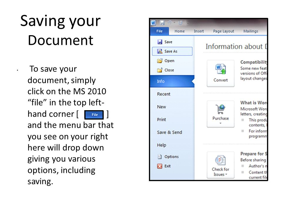 Saving your Document To save your document, simply click on the MS 2010 file in the top left- hand corner [ ] and the menu bar that you see on your right here will drop down giving you various options, including saving.