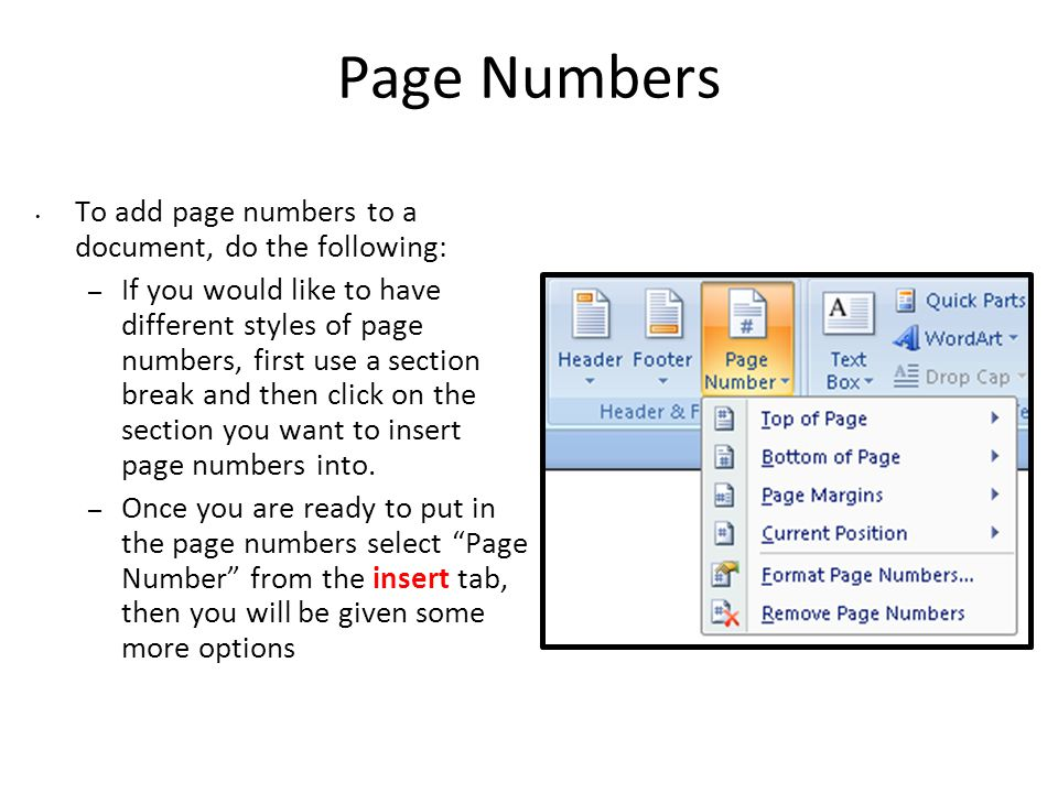 Page Numbers To add page numbers to a document, do the following: – If you would like to have different styles of page numbers, first use a section break and then click on the section you want to insert page numbers into.