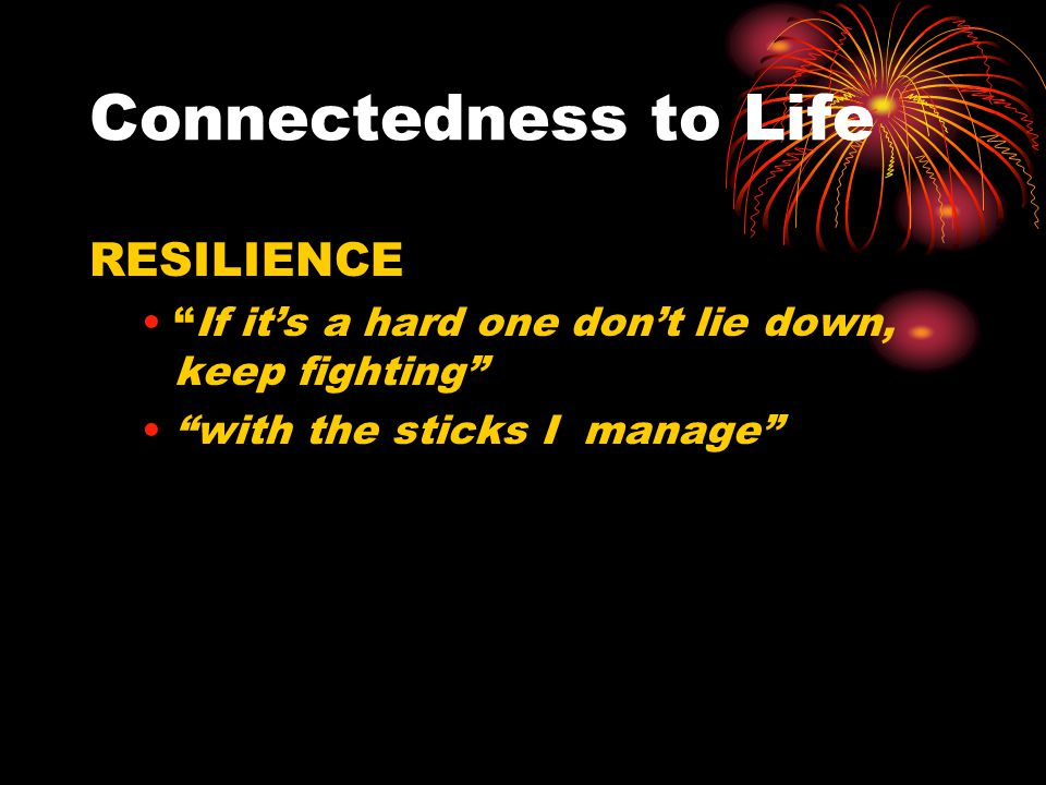 """Connectedness to Life RESILIENCE """"If it's a hard one don't lie down, keep fighting"""" """"with the sticks I manage"""""""