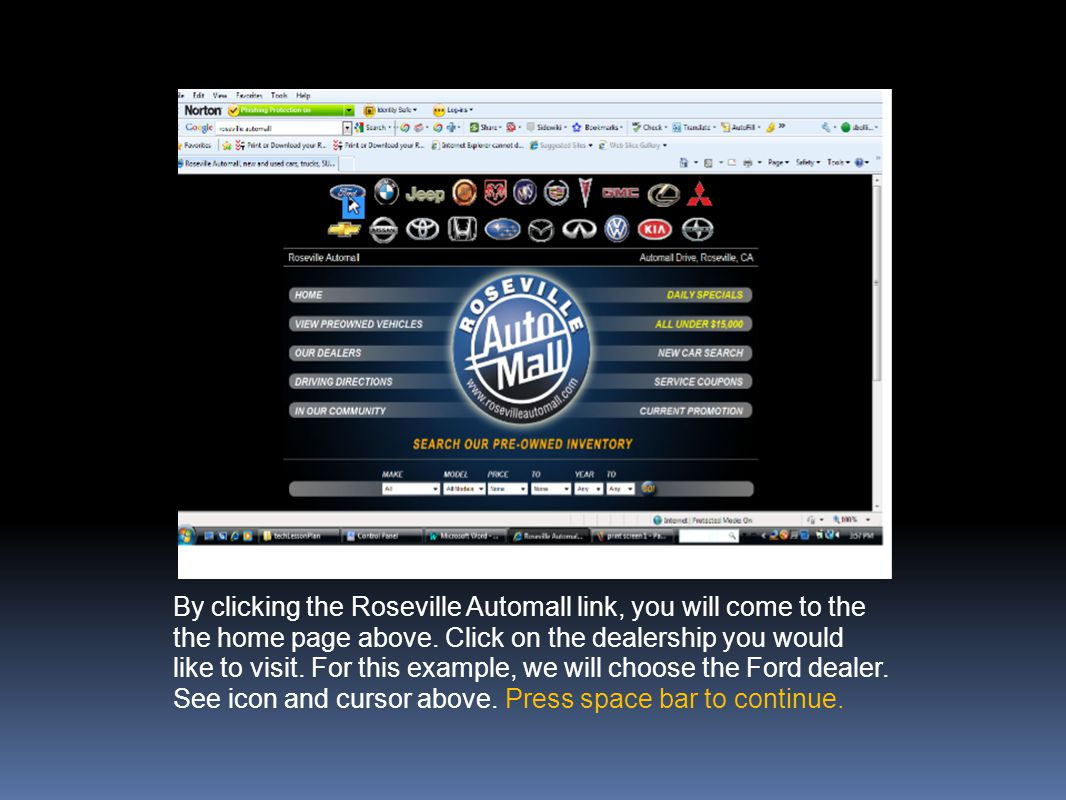 By clicking the Roseville Automall link, you will come to the the home page above.