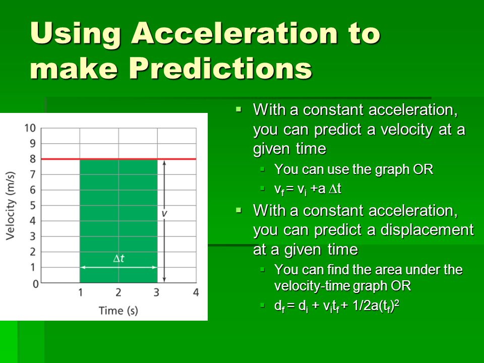 Using Acceleration to make Predictions  With a constant acceleration, you can predict a velocity at a given time  You can use the graph OR  v f = v