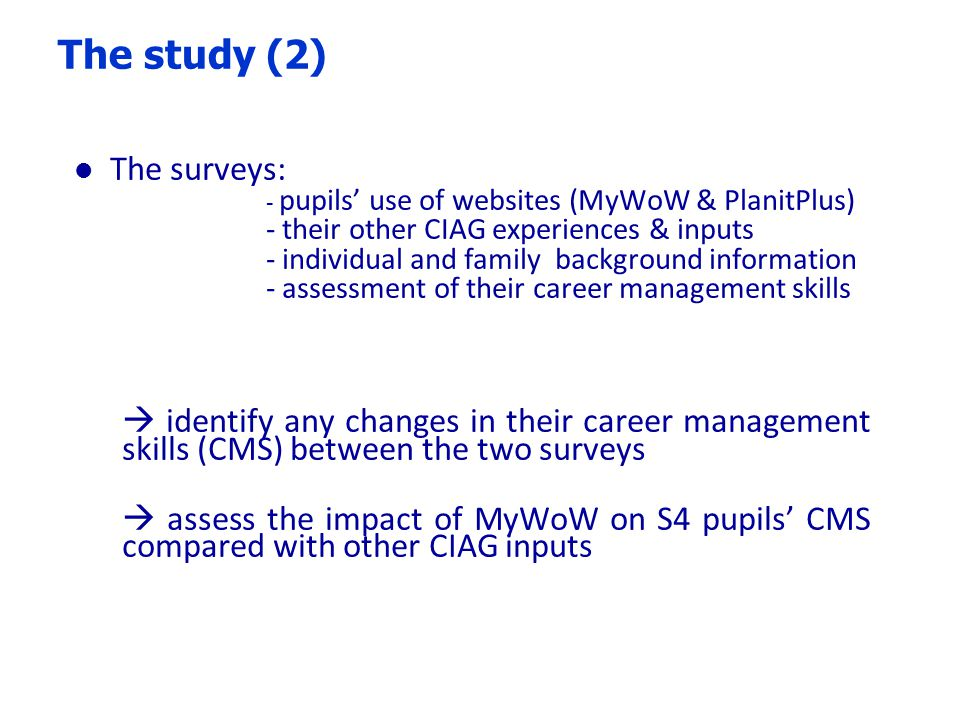 NB % actually using my MyWoW not simply being registered for it Pupils use a variety of sources of CIAG