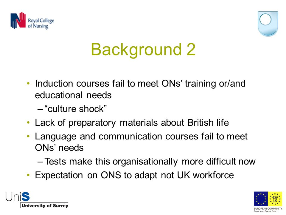 """Background 2 Induction courses fail to meet ONs' training or/and educational needs –""""culture shock"""" Lack of preparatory materials about British life L"""