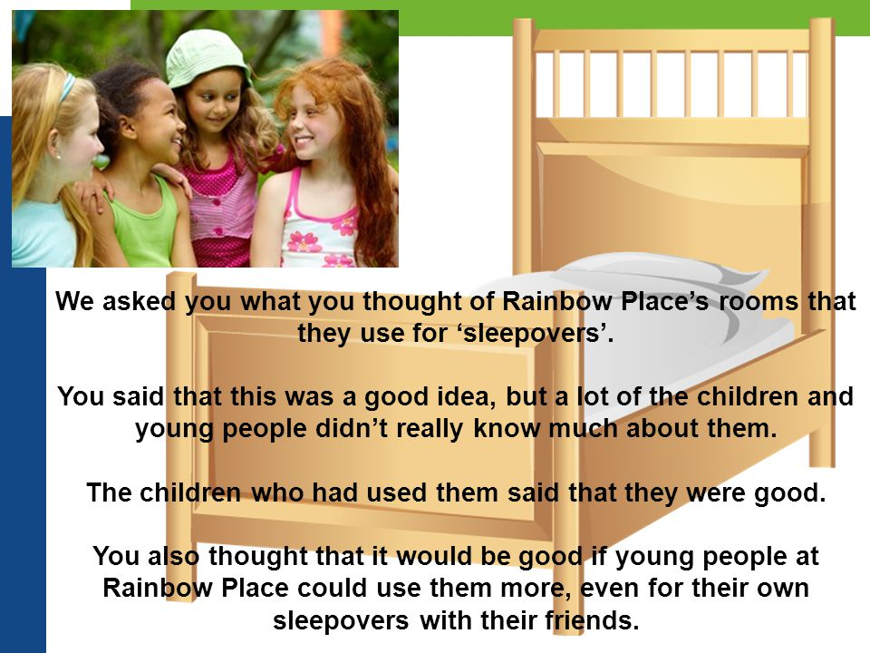 We asked you what you thought of Rainbow Place's rooms that they use for 'sleepovers'.