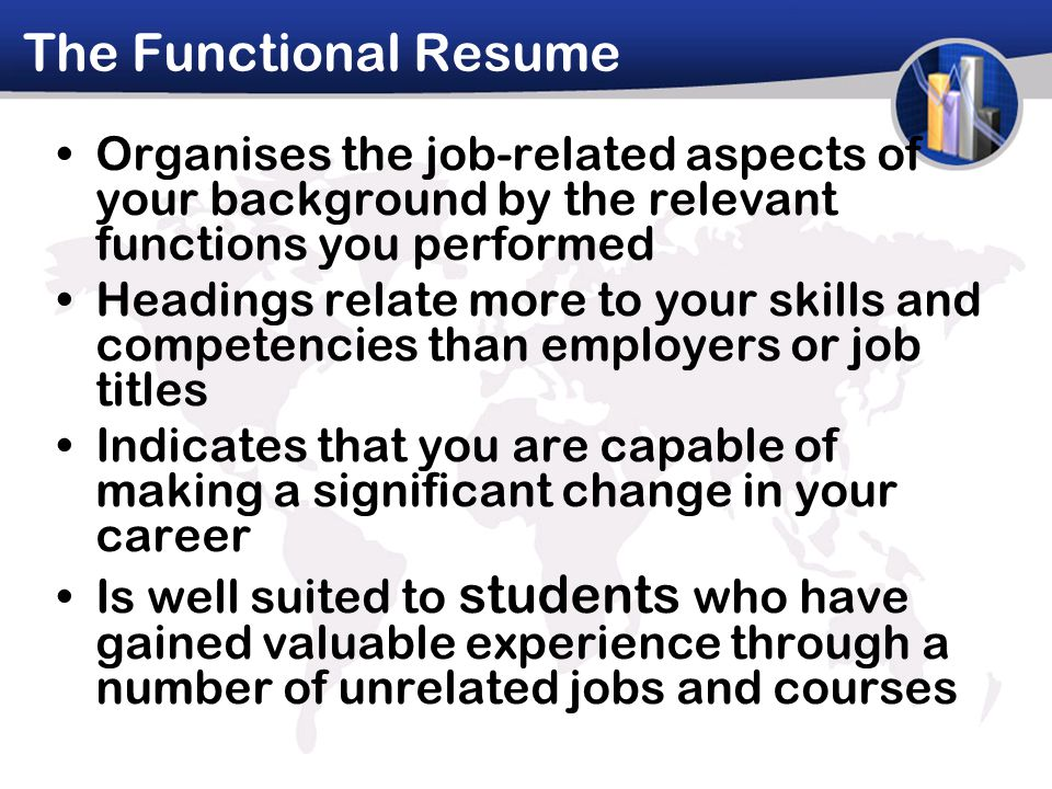 The Functional Resume Organises the job-related aspects of your background by the relevant functions you performed Headings relate more to your skills and competencies than employers or job titles Indicates that you are capable of making a significant change in your career Is well suited to students who have gained valuable experience through a number of unrelated jobs and courses