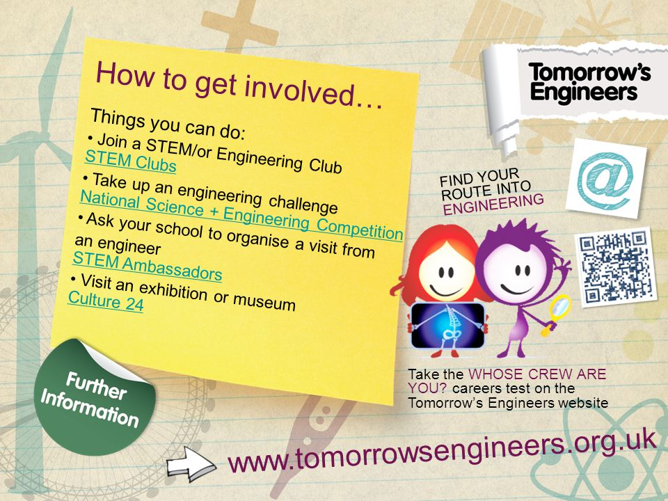 How to get involved… Things you can do: Join a STEM/or Engineering Club STEM Clubs STEM Clubs Take up an engineering challenge National Science + Engineering Competition National Science + Engineering Competition Ask your school to organise a visit from an engineer STEM Ambassadors STEM Ambassadors Visit an exhibition or museum Culture 24 Culture 24 www.tomorrowsengineers.org.uk FIND YOUR ROUTE INTO ENGINEERING Take the WHOSE CREW ARE YOU.