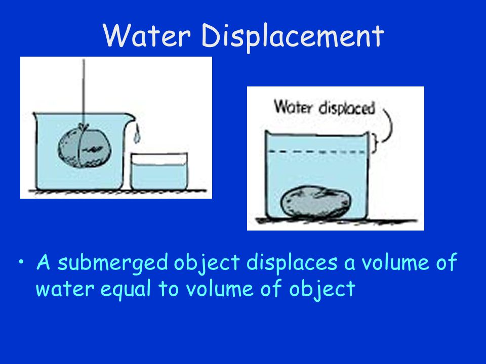 Water Displacement A submerged object displaces a volume of water equal to volume of object