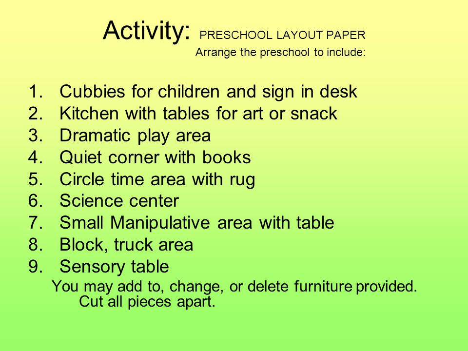 Activity: PRESCHOOL LAYOUT PAPER Arrange the preschool to include: 1.Cubbies for children and sign in desk 2.Kitchen with tables for art or snack 3.Dramatic play area 4.Quiet corner with books 5.Circle time area with rug 6.Science center 7.Small Manipulative area with table 8.Block, truck area 9.Sensory table You may add to, change, or delete furniture provided.