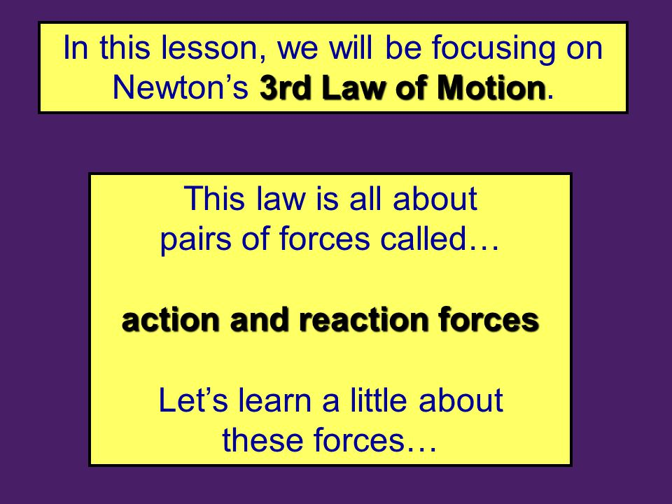 3rd Law of Motion In this lesson, we will be focusing on Newton's 3rd Law of Motion.