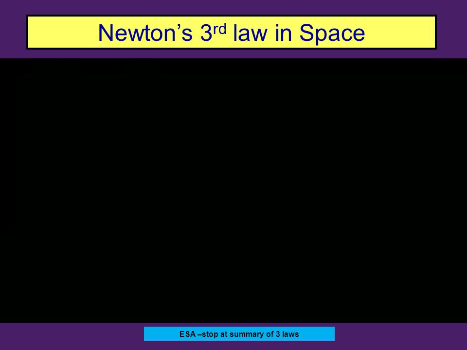 ESA –stop at summary of 3 laws Newton's 3 rd law in Space