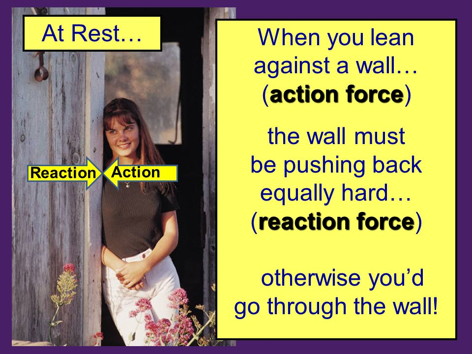 When you lean against a wall… action force (action force) the wall must be pushing back equally hard… reaction force (reaction force) otherwise you'd go through the wall.