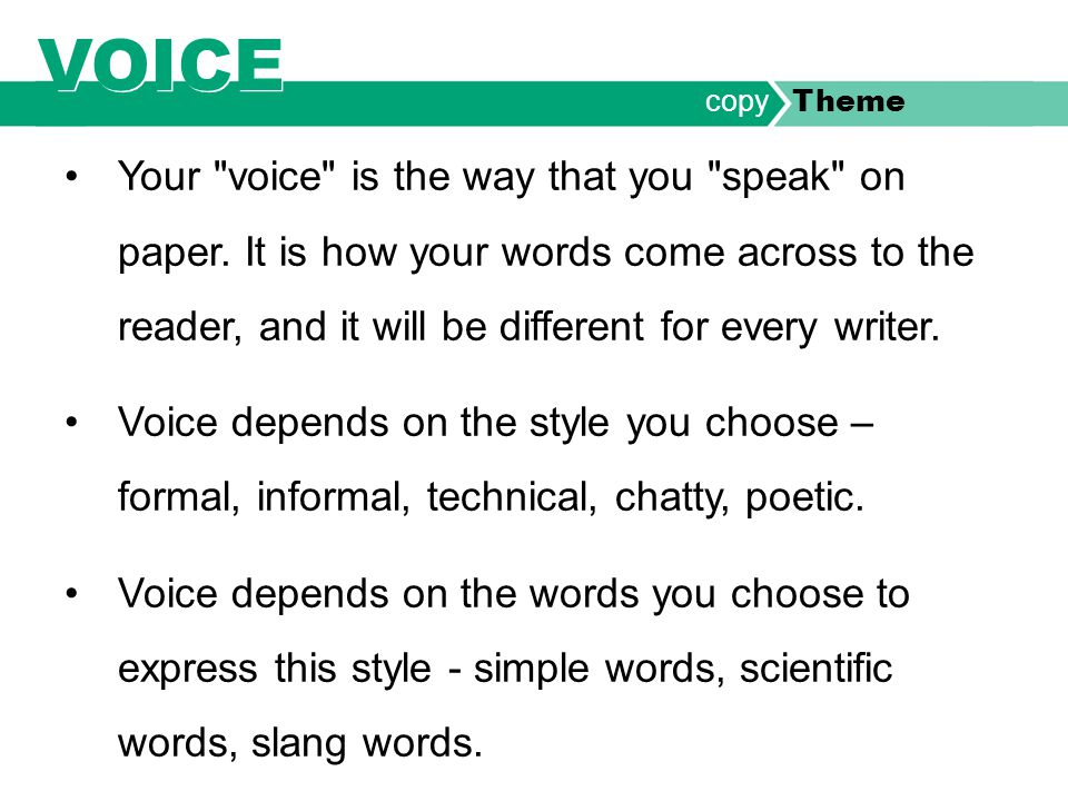 Your voice is the way that you speak on paper.