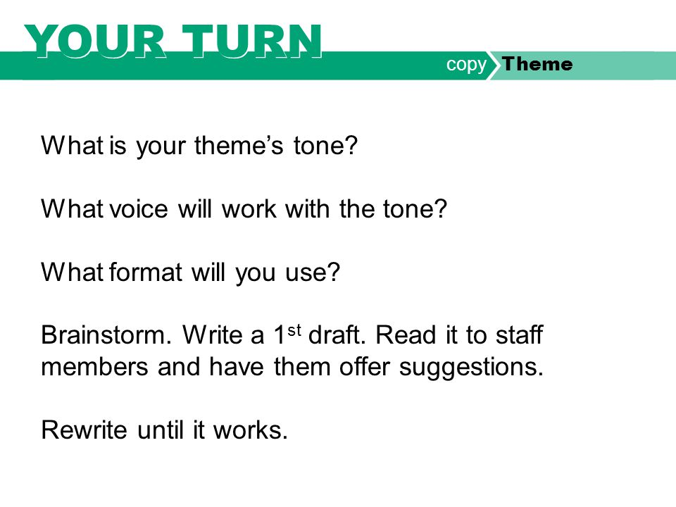 What is your theme's tone. What voice will work with the tone.