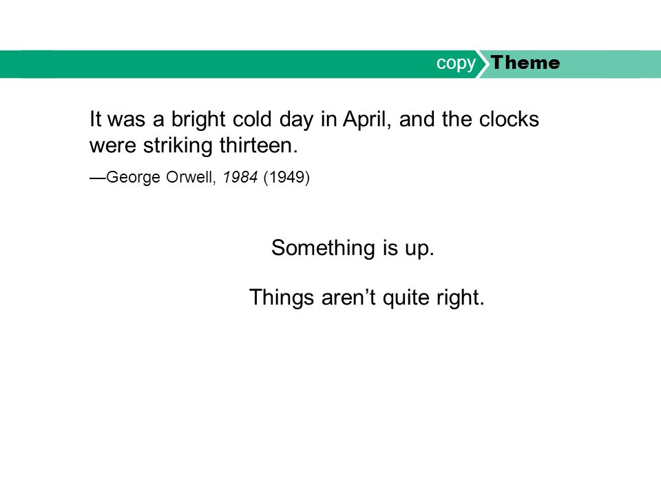 It was a bright cold day in April, and the clocks were striking thirteen.