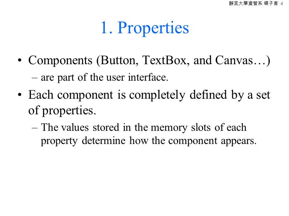 靜宜大學資管系 楊子青 5 Modifying the memory slots in the property form to change the app's appearance