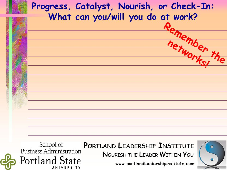 P ORTLAND L EADER S HIP I N S TITUTE N OURISH THE L EADER W ITHIN Y OU d www.portlandleadershipinstitute.com d Progress, Catalyst, Nourish, or Check-In: What can you/will you do at work.