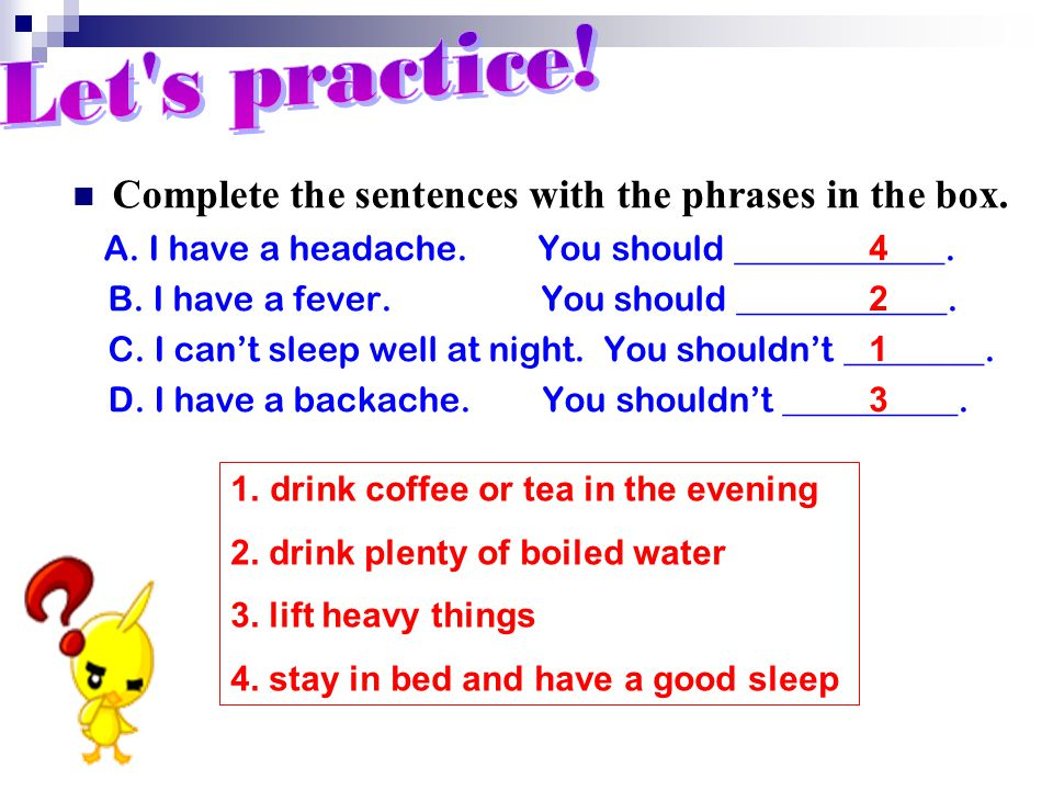 Complete the sentences with the phrases in the box.
