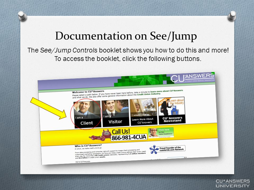 Documentation on See/Jump The See/Jump Controls booklet shows you how to do this and more.