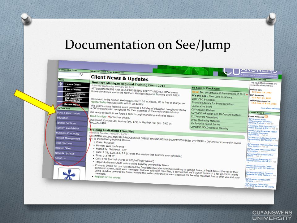 Documentation on See/Jump