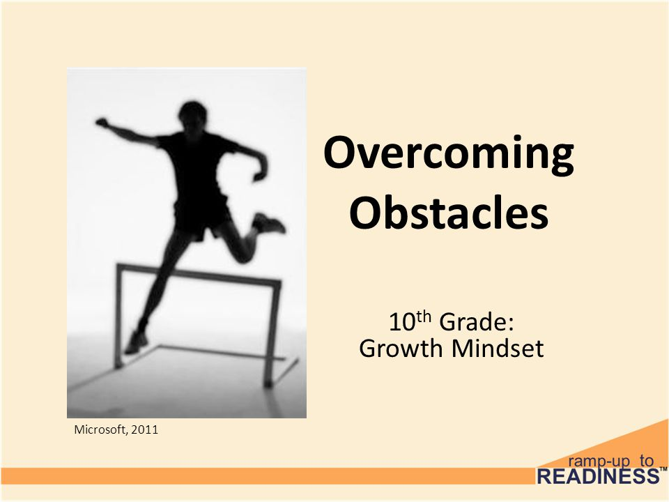 Overcoming Obstacles 10 th Grade: Growth Mindset Microsoft, 2011