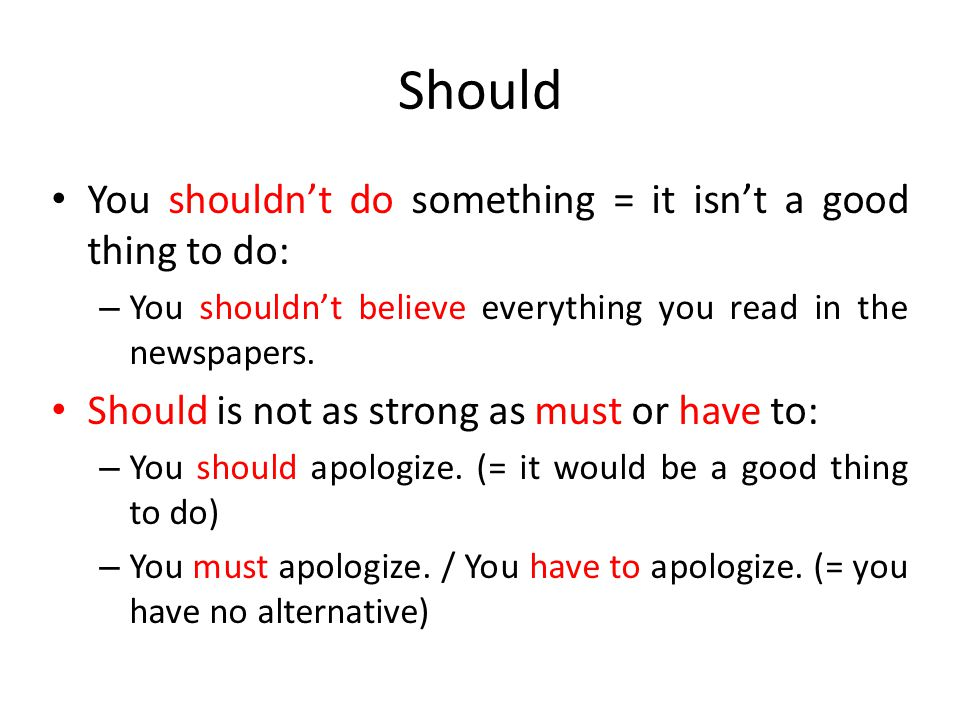 Should You shouldn't do something = it isn't a good thing to do: – You shouldn't believe everything you read in the newspapers. Should is not as stron