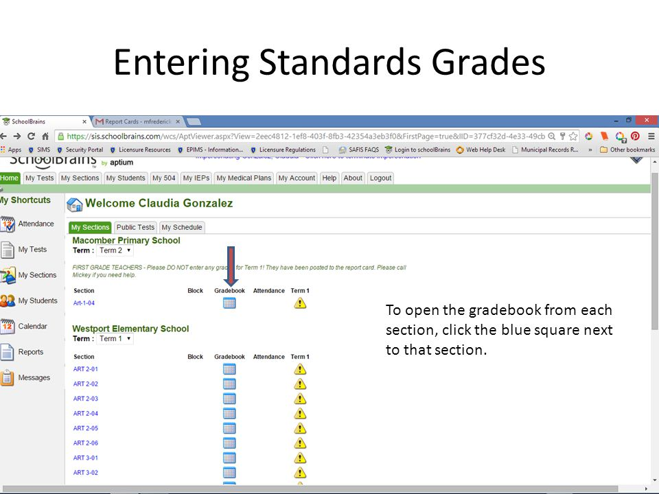 Entering Standards Grades To open the gradebook from each section, click the blue square next to that section.