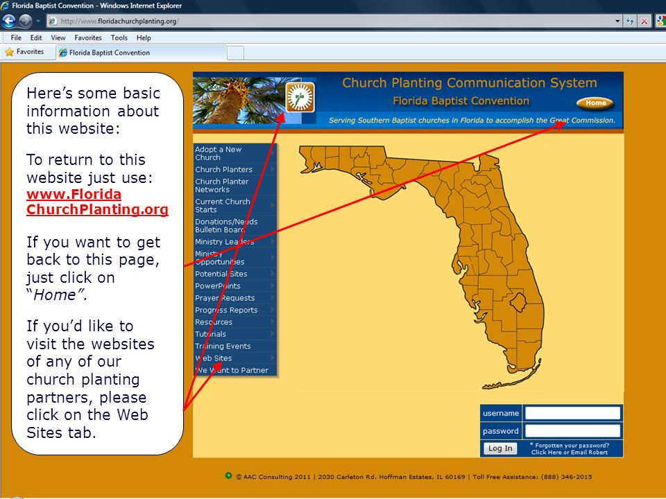 Hyperlinks on Home Page Here's some basic information about this website: To return to this website just use: www.Florida ChurchPlanting.org If you want to get back to this page, just click on Home .