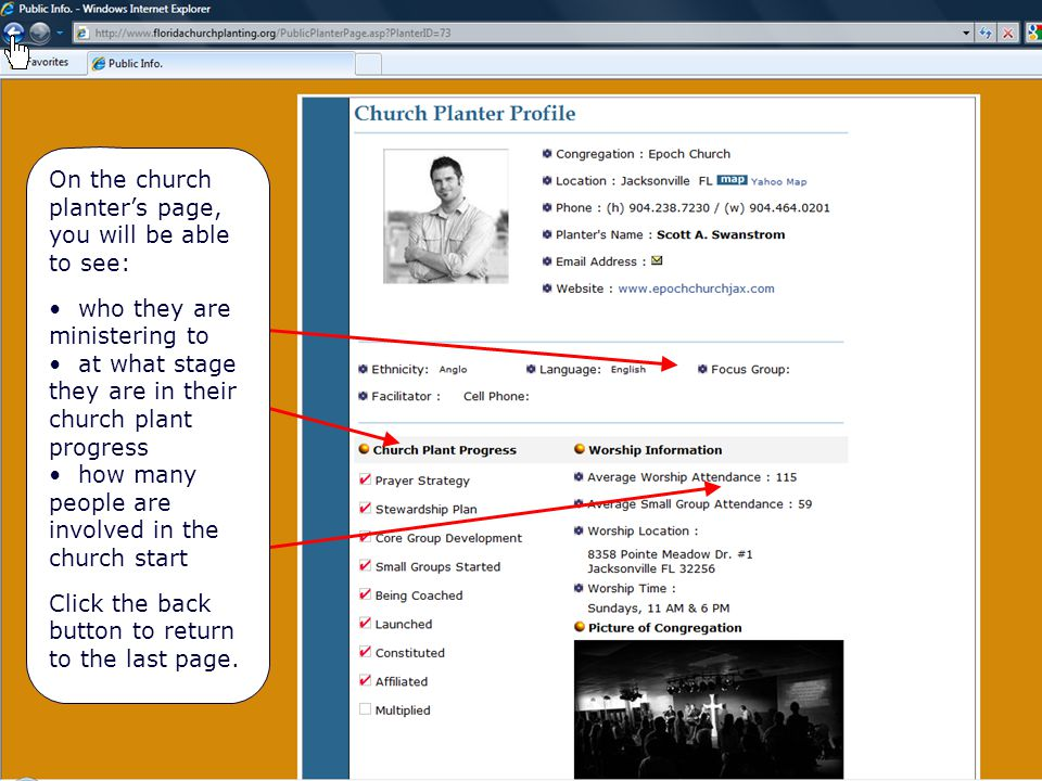 Church Planter's Page On the church planter's page, you will be able to see: who they are ministering to at what stage they are in their church plant progress how many people are involved in the church start Click the back button to return to the last page.