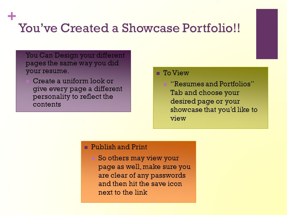 + You've Created a Showcase Portfolio!! You Can Design your different pages the same way you did your resume. Create a uniform look or give every page