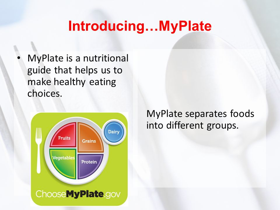 Introducing…MyPlate MyPlate is a nutritional guide that helps us to make healthy eating choices. MyPlate separates foods into different groups.