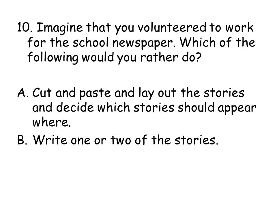 10.Imagine that you volunteered to work for the school newspaper.