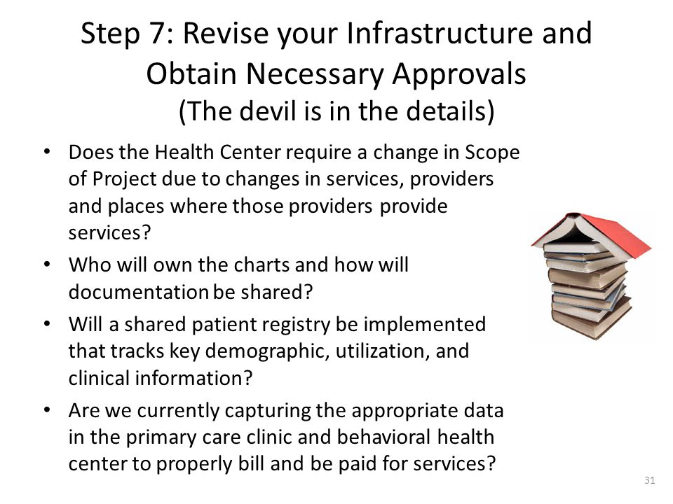 Step 7: Revise your Infrastructure and Obtain Necessary Approvals (The devil is in the details) Does the Health Center require a change in Scope of Pr