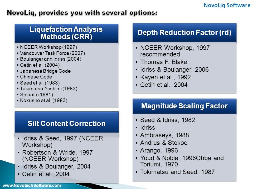 www.NovotechSoftware.com NovoLiq Software Silt Content Correction Idriss & Seed, 1997 (NCEER Workshop) Robertson & Wride, 1997 (NCEER Workshop) Idriss & Boulanger, 2004 Cetin et al., 2004 Depth Reduction Factor (rd) NCEER Workshop, 1997 recommended Thomas F.