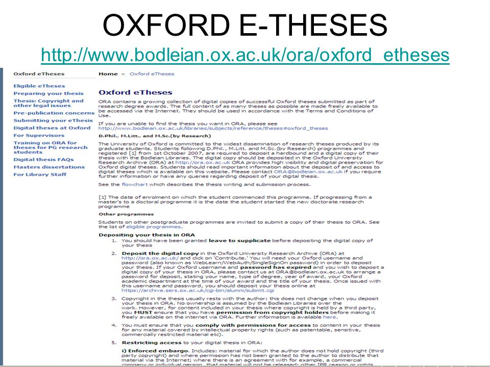 OXFORD E-THESES http://www.bodleian.ox.ac.uk/ora/oxford_etheses http://www.bodleian.ox.ac.uk/ora/oxford_etheses
