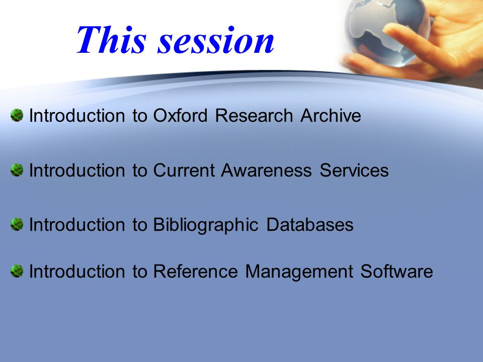 Oxford Research Archive Students registered on the D.Phil.