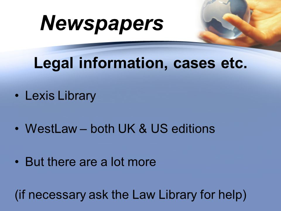 Newspapers Legal information, cases etc.